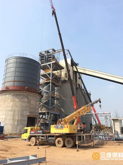 怀远中联水泥机制砂钢结构设备安装案例图