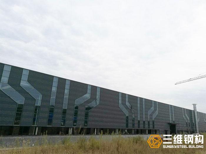 三维钢结构厂房案例-济南迈克阀科技有限公司加工装配车间整体图