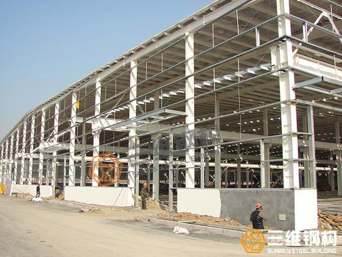 山东三维钢结构公司建造的齐鲁工程轻钢结构厂房效果图